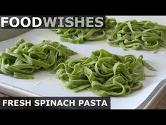 E-recipes Web Site : Fresh Spinach Pasta - Food Wishes - E-recipes Web Site Video E-recipes Web Site Learn how to make Fresh Spinach Pasta! I don't often make homemade pasta, but when I do, I make fresh spinach Kids Cooking Recipes, Easy Cooking, Cooking Bacon, Cooking Games, Cooking Oil, Easy Recipes, Dinner Recipes, Spinach Pasta Recipes, Spinach Noodles