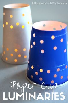Paper cup luminaries for a fun and simple kids craft activity. Celebrate the Winter solstice or Summer solstice with paper luminaries kids can make. Simple kids craft idea.
