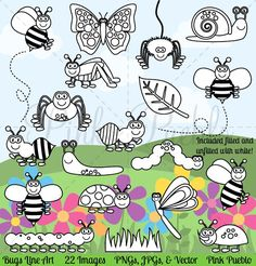 Bug Digital Stamps, Clipart & Vector by PinkPueblo on @creativemarket