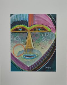 """""""Going Native II"""" by Jane Ingols.11 x 14 (matted). Acrylic, ink, and colored pencil on paper. $150 #masks #neon #funky #design"""