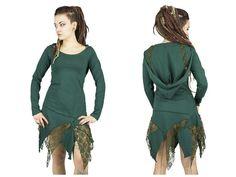 Robe de fée verte avec pointes en dentelle et par BaliWoodShop