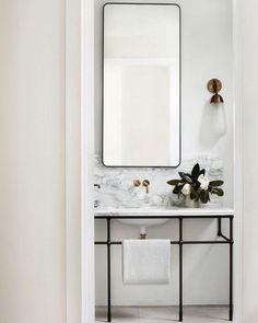 Emily Henderson bathroom trends 2019 modern bathroom with modern marble vanity and modern vanity light Bad Inspiration, Bathroom Inspiration, Bathroom Trends, Bathroom Interior, Bathroom Ideas, Bathroom Remodeling, Bathroom Organization, Remodel Bathroom, Bathroom Designs