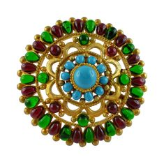 Chanel Gripoix Massive Mughal Brooch Pendant 93A | From a unique collection of vintage brooches at https://www.1stdibs.com/jewelry/brooches/brooches/