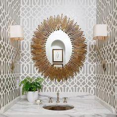 Atlanta Homes & Lifestyles - bathrooms - powder room, powder room wallpaper, silver geometric wallpaper, silver trellis wallpaper, silver an...
