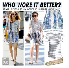 """""""Who Wore It Better?Olivia Palermo or Lily Collins in Tularosa Carter Skirt"""" by kusja ❤ liked on Polyvore"""