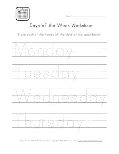 DAYS of the WEEK: Check out our selection of days worksheets for kids. Help kids learn the days of the week with any of these printable worksheets. This set of worksheets will help kids learn to recognize, write, spell and put all the days of the week in order