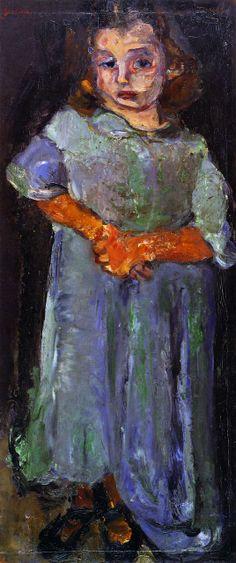chaïm soutine(1894-1943), little girl in blue, c. 1934-35. oil on cardboard, 73 x 31.4 cm. kunstmuseum bern, switzerland http://www.the-athenaeum.org/art/detail.php?ID=56753