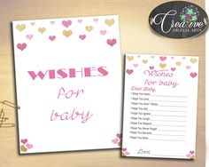 Wishes For Baby Baby Shower Wishes For Baby Hearts Baby Shower Wishes For Baby Baby Shower Hearts Wishes For Baby Pink Gold prints bsh01 #babyshowergames #babyshowerdecorations
