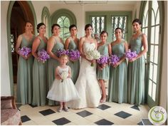 Katrina's bridesmaids carried lilac-colored bouquets to complement their mint-green gowns.
