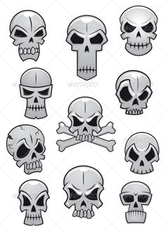 Buy Human Halloween Skulls Set by VectorTradition on GraphicRiver. Human skulls set for Halloween holiday design isolated on white background. Eps and jpeg files are in archive FLAT SP. Skull Tattoo Design, Skull Design, Skull Tattoos, Skull Stencil, Skull Art, Halloween Design, Halloween Skull, Graffiti Lettering, Graffiti Art