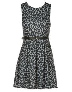 grey leopard print skater dress