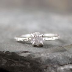 Diamond In The Rough Uncut Diamond Solitaire Engagement Ring - Sterling Silver Ring -  Handmade and Designed by A Second Time. $195.00, via Etsy.