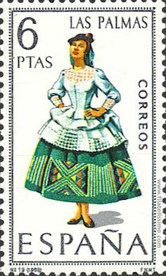 Collection of Spanish stamps: 1968 Las Palmas Spanish Posters, Postage Stamp Collection, Old Stamps, Postage Stamp Art, Traditional Fashion, Traditional Clothes, First Day Covers, Folk Costume, Canary Islands