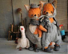 Teddy toys | Купить Иван, Фросья и Гаврюша - оранжевый, лиса, лисичка, лисенок, лис, гусь, тедди лис