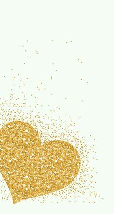 Gold glitter heart/white background