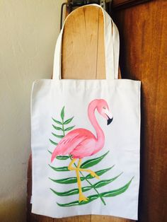 Hand-Painted Canvas Flamingo Tote Bag by TheRosyRedFox on Etsy