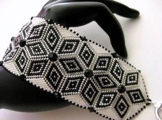 Bead-work Peyote Bracelet in Black, White and Silver Beaded Bead-woven Handmade
