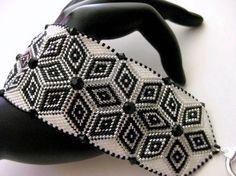 Bead-work Peyote Bracelet in Black, White and Silver Beaded Bead-woven Handmade