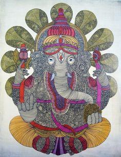 Ganesha: Lord of Success painting on canvas by valentinadesign Ganesha Art, Lord Ganesha, Om Gam Ganapataye Namaha, Elephant Love, God Pictures, Hindu Art, Beautiful Drawings, Deities, Original Paintings