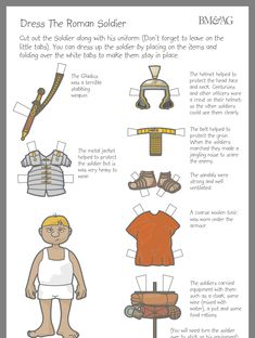Paper doll of a Roman Soldier provided by the group Castra Ferrata in the Pacific Northwest. Rome Activities, Bible Activities, Romans Ks2, The Romans, Romans For Kids, Ancient Rome, Ancient History, Roman History, Women's History