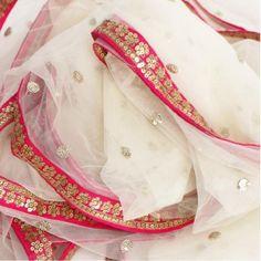anokherang Dupattas Off-White Net Sequenced Dupatta with Hot Pink Border Beautiful Suit, Beautiful Saree, Beautiful Dream, Embroidery Suits, Embroidery Designs, Hand Embroidery, Bridal Dupatta, Net Saree, Lehenga Saree