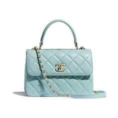 Handbags of the Spring-Summer 2020 Pre-Collection CHANEL Fashion collection : Small Flap Bag with Top Handle, lambskin & gold-tone metal, light blue on the CHANEL official website. Chanel News, Chanel Chanel, Chanel Black, Boutiques, Chanel Store, Chanel Fashion, Paris Fashion, Small Leather Goods, Chain Shoulder Bag