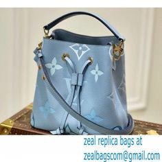 Louis Vuitton Monogram Empreinte Leather NeoNoe BB Bucket Bag M45709 Summer Blue By The Pool Capsule Collection 2021