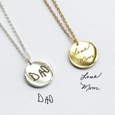 DAINTY Handwriting Necklace / Personalized Signature Necklace / Memorial Gift / Custom Handwriting Jewelry Sterling Silver