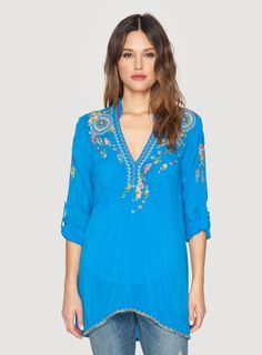 Johnny Was Clothing Embroidered Nemo Blouse in Cobalt Blue