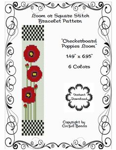 LOOM OR SQUARE Stitch Pattern - Peyote Pattern - Poppies - Red Poppies - Miyuki Delicas - Checkerboard - Floral Pattern-Flower Loom Pattern by CinfulBeadPatterns on Etsy