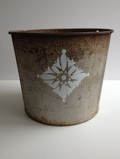 Stenciled vintage metal sap bucket 10 by BlueWillowAtelier on Etsy