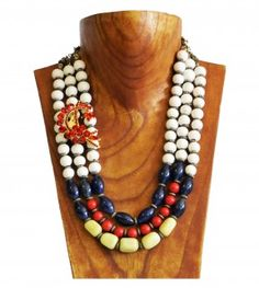 White, black, red and green ceramic gemstone necklace