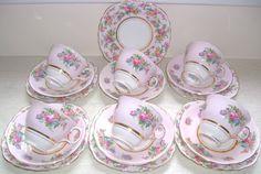 Colclough pink floral trios~