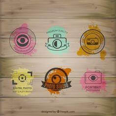 Acuarela logos de fotografía en madera Más