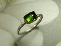 Brilliant Green Tourmaline and 18 K Gold Ring by DeafCatStudios, $158.00