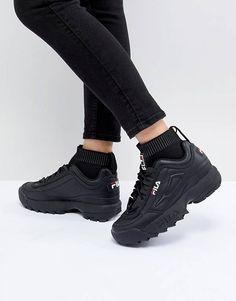 Fila - Disruptor - Baskets avec détail style chaussette - Triple noir Black Fila Shoes, Black Shoes Sneakers, Sneakers Outfit Summer, Girls Sneakers, Casual Sneakers, Sneakers Fashion, Fashion Shoes, Superga Sneakers, Parisian Fashion