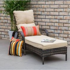 Beautiful Aldusa Reclining Chaise Lounge with Cushion by Bayou Breeze top rated furniture sale from top store Outdoor Lounge Chair Cushions, Outdoor Seating, Seat Cushions, Chaise Lounges, Lounge Chairs, Outdoor Spaces, Indoor Outdoor, Furniture Sale, Rustic Furniture