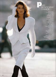 Linda Evangelista   Photography by Hans Feurer   For Vogue Magazine UK   March 1987