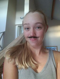 Laurel Springs 9th Grader Arista Siebrits sports a festive moustache on the first day of School Spirit Week.