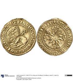 Schottland: Jakob IV. Münze Jakob (James) IV. (1488-1513), König von Schottland, Königtum, Münzherr 1488-1513 Land: Großbritannien (Land) Region: Schottland (Region) Münzstätte/Ausgabeort: Edinburgh Nominal: 1/2 Unicorn, Material: Gold, Druckverfahren: geprägt Gewicht: 1,86 g Durchmesser: 20 mm