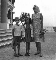 Princess Grace, with Prince Albert and Princess Caroline