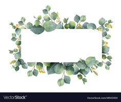 Watercolor vector wreath with green eucalyptus leaves and branches. Spring or summer flowers for invitation, wedding or greeting cards. Download a Free Preview or High Quality Adobe Illustrator Ai, EPS, PDF and High Resolution JPEG versions.
