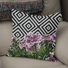 Discover «Garofani», Exclusive Edition Throw Pillow by Paola Morpheus: #natural #pillow #garofani #geometric #flower #violet #rose #bn #green #summer #sun #paolamorpheus #design #bestt-shirts #girls #boys #gift #2017 #youandme #tfw #squad #trendy #foliage  #streetwear #highsnobiety #like4like #gopro #pillow #interiordesign