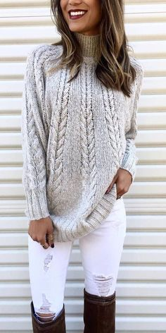 outfit of the day | knit sweater + white rips + brown over the knee boots