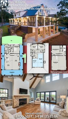 Plan Show-Stopping Vacation Home Plan with Wraparound Porch - Traumhaus Lake House Plans, New House Plans, Dream House Plans, House Floor Plans, My Dream Home, Dream Houses, Home Plans, Stilt House Plans, Cabin House Plans
