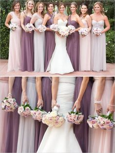 Elegant floor length mismatched bridesmaid dresses in purple and pink.