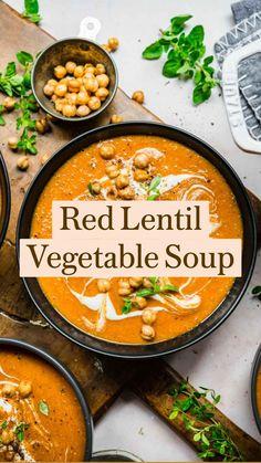 Healthy Soup Recipes, Easy Dinner Recipes, Whole Food Recipes, Vegetarian Recipes, Cooking Recipes, Autumn Food Recipes, Vegetarian Comfort Food, Fall Soup Recipes, Lentil Recipes