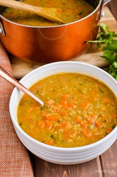 - Simple but tasty Spicy Carrot and Lentil Soup. Basic ingredient come together to… Simple but tasty Spicy Carrot and Lentil Soup. Basic ingredient come together to make this comforting and filling bowl of soup. Spicy Lentil Soup, Carrot And Lentil Soup, Lentil Soup Recipes, Weight Watchers Lentil Soup Recipe, Spicy Vegetable Soup, Chicken Lentil Soup, Spicy Vegetarian Recipes, Slimming World Soup Recipes, Spicy Carrots