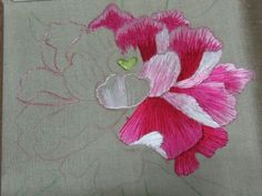 In progress: peony embroidery. Details & link to embroidery blog