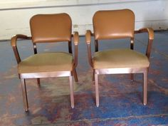 Allsteel emeco style Tanker arm chairs~ butterscotch w/chocolate steel  / Set 2  #ALLSTEEL #navy